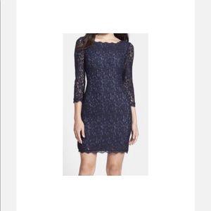 Adrianna Papell Navy Lace (Sheath) Dress